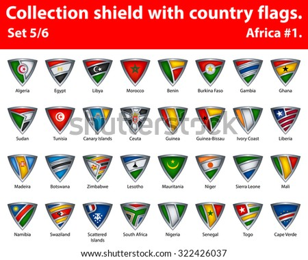 Collection shield with country flags. Part 5 of 6. Africa. - stock vector