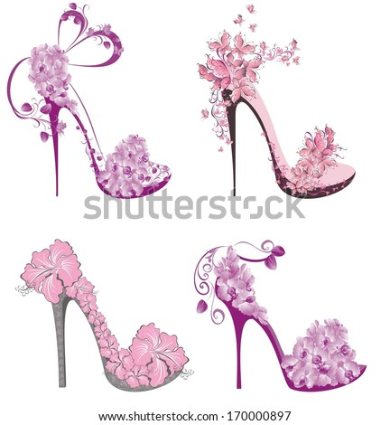 Collection shoes on a high heel decorated with flowers and butterflies  - stock vector