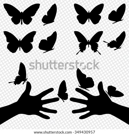 Collection silhouettes of a butterflies. Sitting on the hands - stock vector