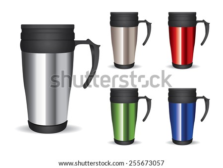 Collection tumbler thermos-cup vector for branding item - stock vector
