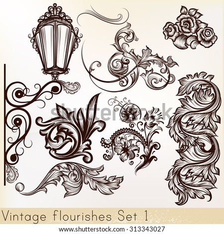 Collection vector vintage design elements - stock vector