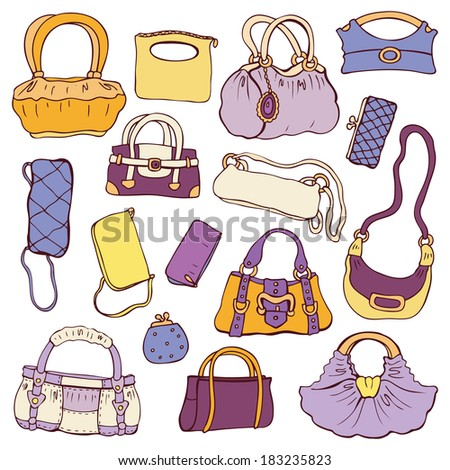 Collection women's handbags. Hand drawn vector isolated. - stock vector