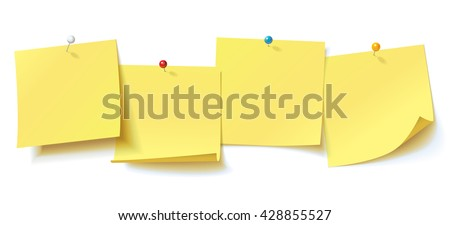 Collection yellow sticker pinned pushbutton with curled corner, ready for your message. Vector illustration. Isolated on white background. Front view. Top view. Close up. Set - stock vector