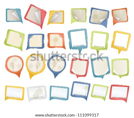 Collectionn of vintage paper speech clouds - stock vector