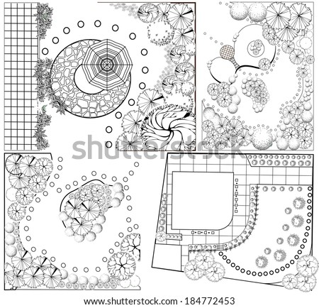 Collections od  Landscape Plan with treetop symbols - stock vector