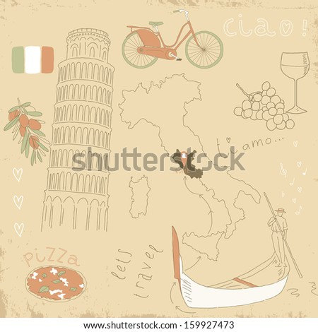 Collections of hand drawn doodles. Vector set of Italy symbols on vintage old papers. - stock vector