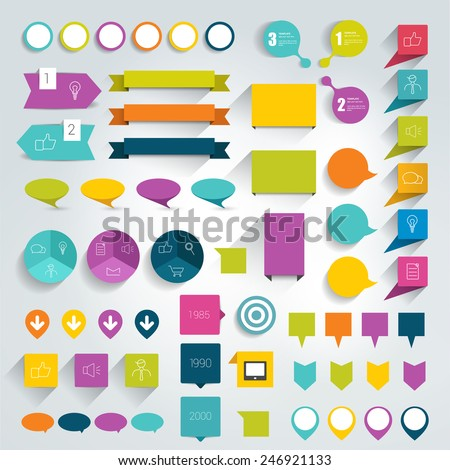 Collections of infographics flat design elements. Vector illustration.  - stock vector