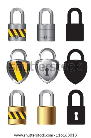 collections of locks over white background vector illustration - stock vector