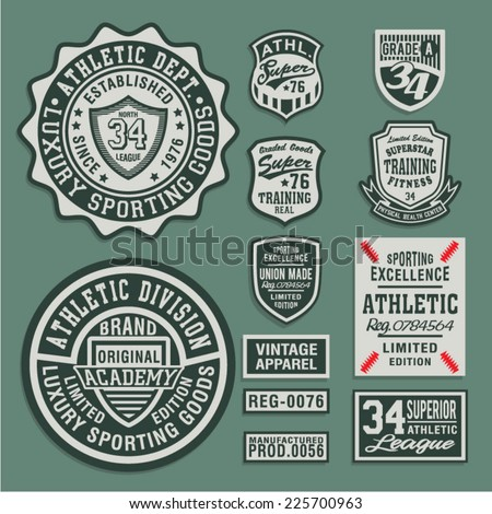 College Athletic sport labels typography, t-shirt graphics, vectors - stock vector