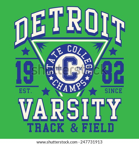 College athletic sport typography, t-shirt graphics, vectors - stock vector