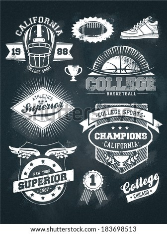 College athletics sport chalkboard design set - stock vector