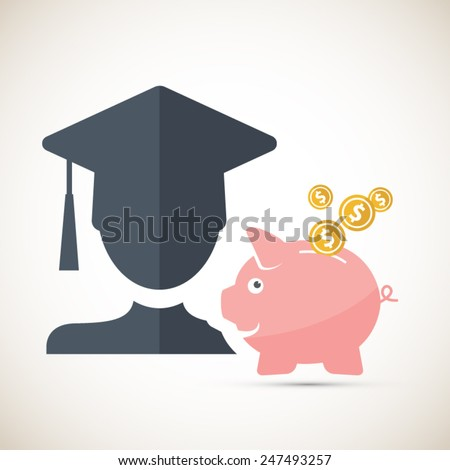 College fund - piggy bank money saving concept.Eps10 vector illustration. - stock vector