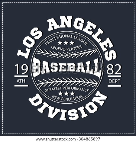 College Los angeles varsity division sport baseball america typography, t-shirt graphics. White color version. Very easy to use for apparel. - stock vector