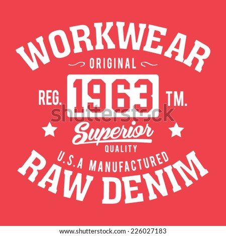 College raw denim typography, t-shirt graphics, vectors - stock vector