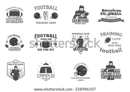 College rugby and american football team, campus, college badges logos labels insignias in retro style. Graphic vintage design for t-shirt, web Monochrome print isolated on a white background. Vector. - stock vector