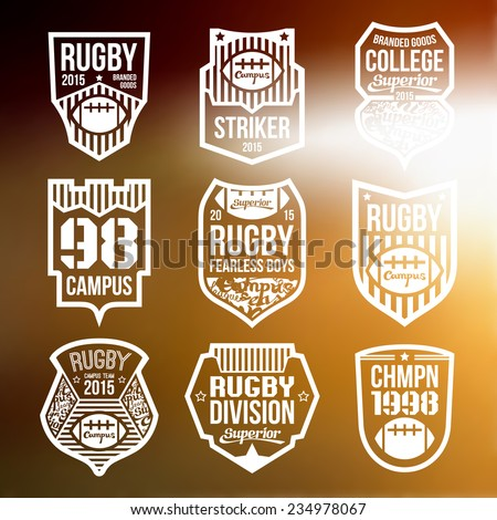 College rugby team emblems in flat style. White print on a blurred background - stock vector