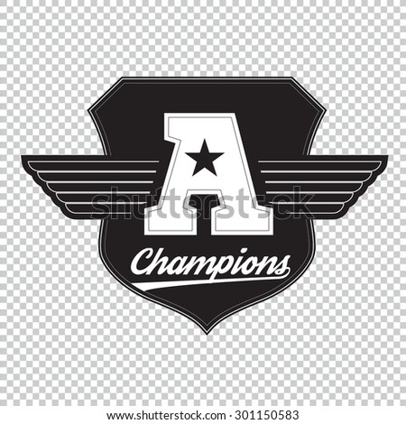 College university champions division team sport label typography, t-shirt graphics for apparel. - stock vector
