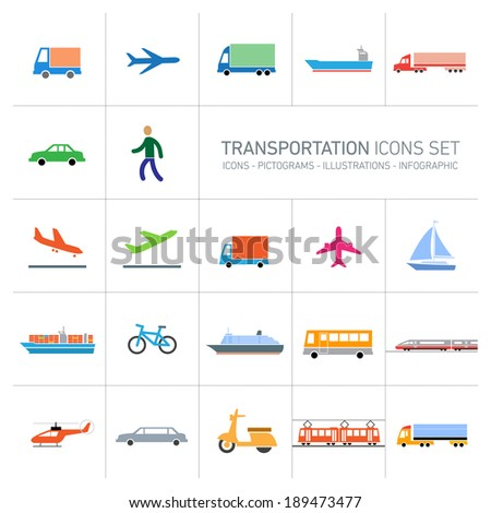 colofrful modern vector flat design transportation icons set and pictograms isolated on white background - stock vector