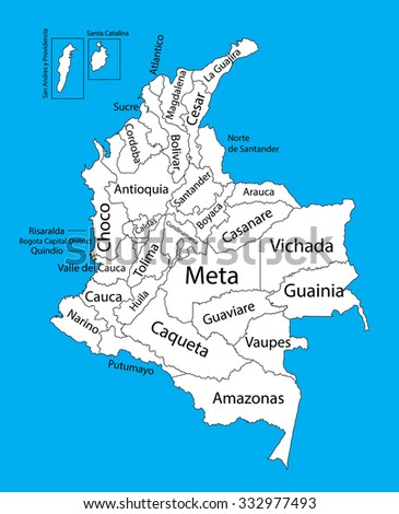 Colombia editable blank vector map. Administrative divisions of Colombia editable map. High detailed. Autonomous communities of Colombia,  separated provinces. - stock vector