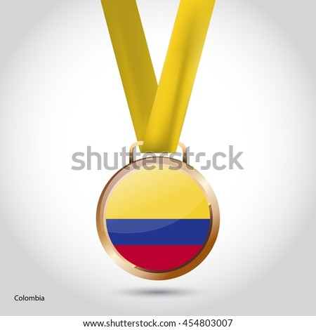 Colombia Flag in Bronze Medal. Olympic Game Bronze Medal. Vector Illustration - stock vector