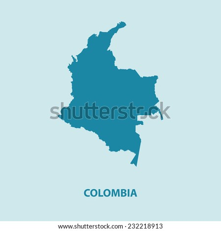 Colombia Map Vector Very Detailed - stock vector