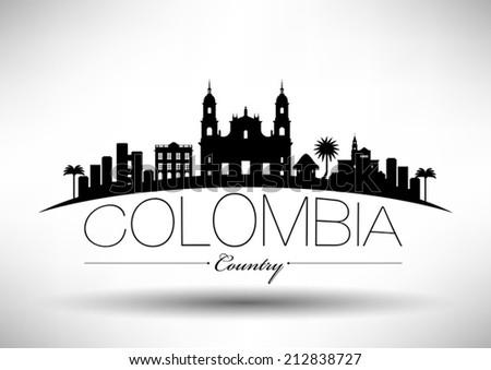 Colombia Skyline Typography Design - stock vector
