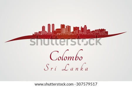 Colombo skyline in red and gray background in editable vector file - stock vector