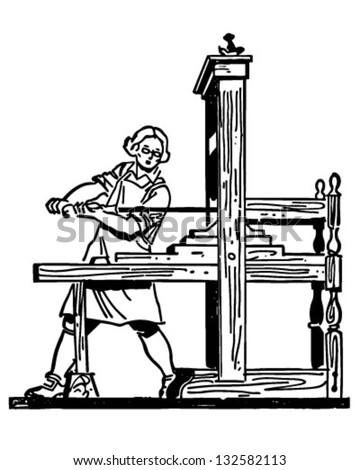 Colonial Printing Press - Retro Clip Art Illustration - stock vector