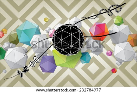 Color abstract composition from geometric shapes - stock vector