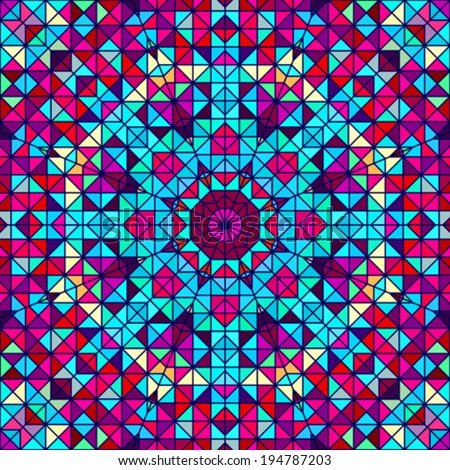 Color Abstract Geometric Retro Pattern. Stained-glass Window - stock vector