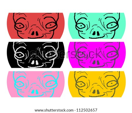 Color aliens faces - stock vector