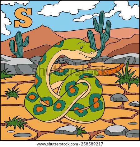 Color alphabet for children: letter S (snake) - stock vector