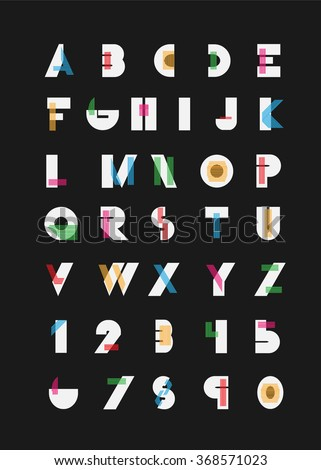 Color alphabetic fonts and numbers. Vector eps10 illustrator. - stock vector