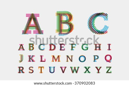 Color alphabetic fonts. Vector eps10 illustrator. - stock vector