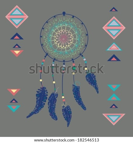 Color American Indians dreamcatcher with bird feathers and geometrical figures, VECTOR - stock vector
