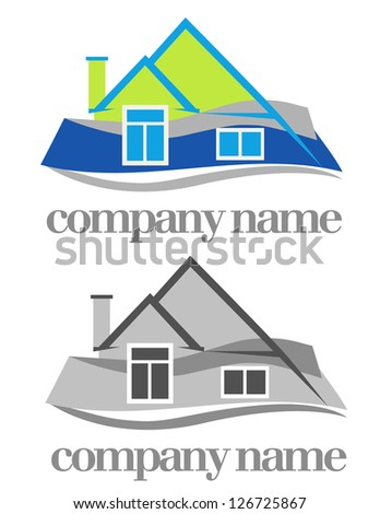 color and monochrome versions of house symbol - stock vector