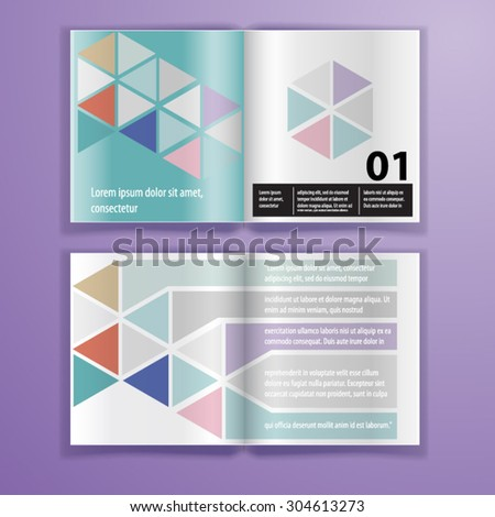 Color application brochure template design for corporate identity with triangle shapes. Stationery set - stock vector