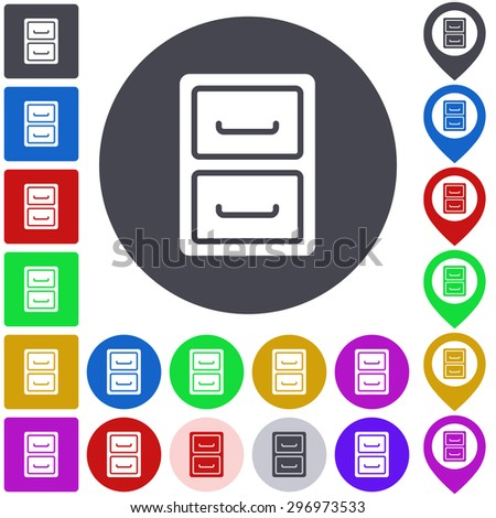 Color archive icon, button, symbol set. Square, circle and pin versions. - stock vector