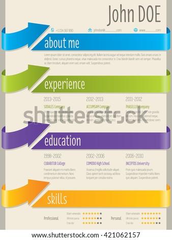 Color arrow ribbons cv resume curriculum vitae template design - stock vector