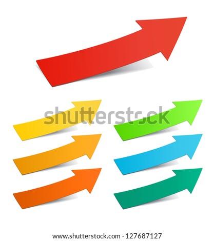 Color arrows sticker set, vector illustration - stock vector