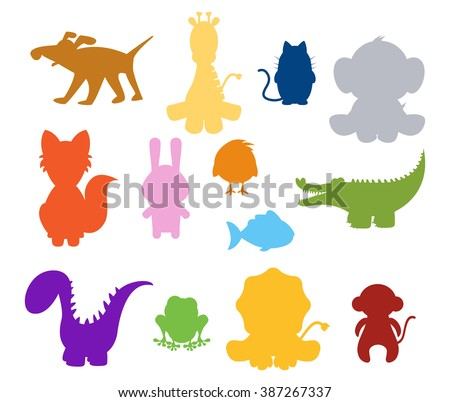 color baby silhouette animals set - stock vector