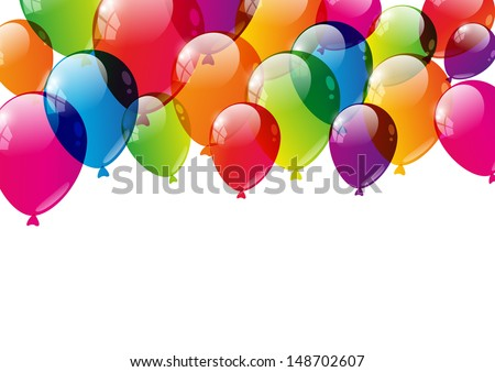 Color balloons background with place for text - stock vector