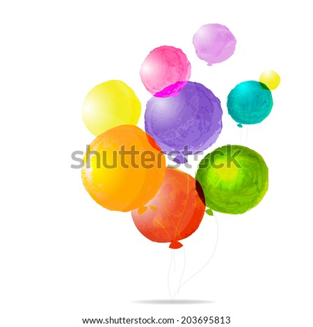 Color Balloons, With Gradient Mesh, Vector Illustration - stock vector