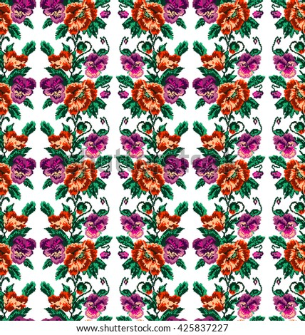 Color  bouquet of flowers (poppies and pansies) using traditional Ukrainian embroidery elements.Orange, violet, pink and green tones Seamless pattern. Can be used as pixel-art.  - stock vector
