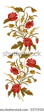 Color  bouquet of flowers (poppies,ears of wheat and cornflowers)red and brown tones. Ukrainian embroidery elements. Hand made. Border pattern. Can be used as pixel-art.   - stock vector
