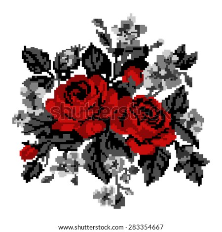 Color bouquet of flowers (roses and cornflowers) in red and grey tones using traditional Ukrainian embroidery elements.  Can be used as pixel-art, card, emblem, icon. - stock vector