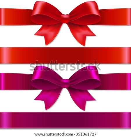 Color Bows With Gradient Mesh, Vector illustration - stock vector
