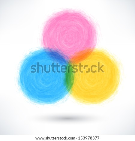 Color brush stroke in the form of a circle with drop black shadow. Drawing created in ink sketch handmade technique. Abstract colorful textured shapes. Vector illustration design element 10 eps  - stock vector
