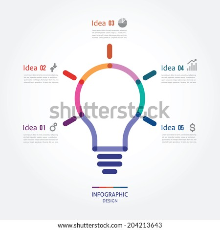 color bulb with five options - stock vector