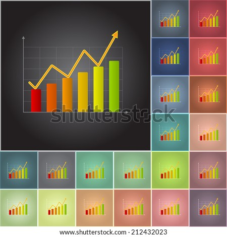 Color Business Graphs/Charts, Color Profit Graph Isolated on Color Background. - stock vector